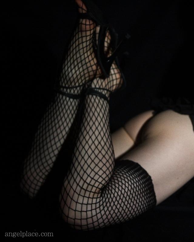 Fishnet stockings.